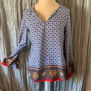 Renee C Moroccan Mandala Long Sleeve Blouse